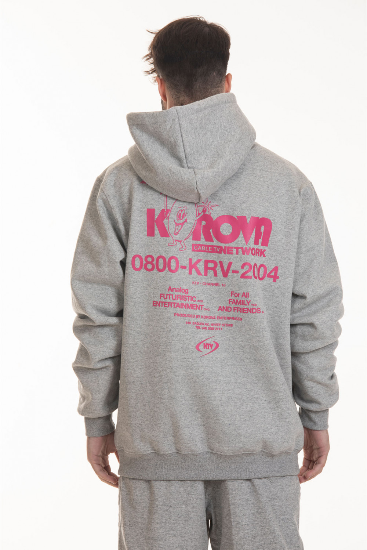 Moletom Hoodie Korova Fun Service Cable TV Cinza Mescla