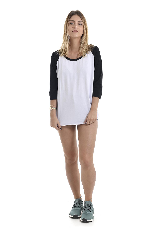 Camiseta Raglan Korova Basica Branca/Preta
