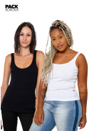 Pack de 2 Camisetas Regatas Caneladas Korova Branca/Preta