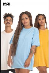 Pack de 3 Camisetas Korova Estonadas Logo HW Telha/Salmão/Azul