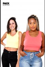 Pack de 2 Tops Cropped Canelados Korova Amarelo e Infrared