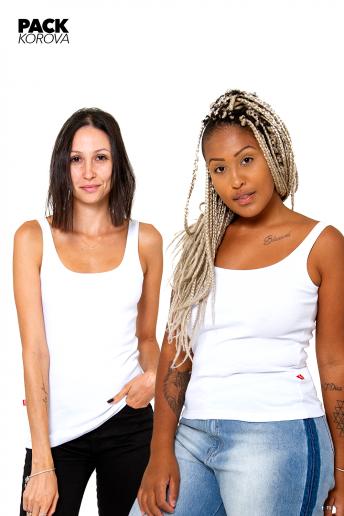 Pack de 2 Camisetas Regatas Caneladas Korova Brancas