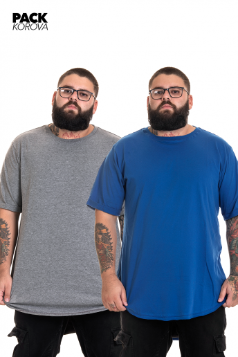 Pack de 2 Camisetas Tall Tee AZUL ROYAL / CINZA MESCLA CLARA