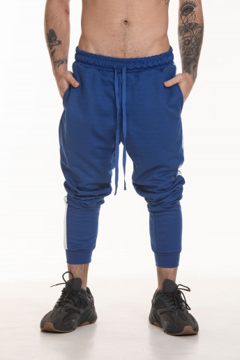 Calça Track Pants Side Stripe Korova Trackerz Azul Royal e Branca