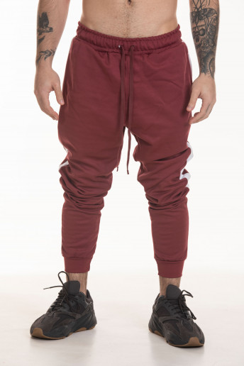 Calça Track Pants Side Stripe Korova Trackerz Bordô e Branca