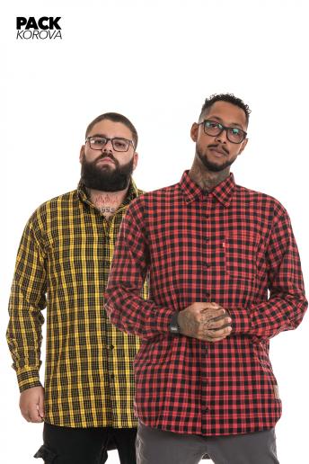 Pack de 2 Camisas Flanelas Korova Xadrez Vermelho/Amarelo