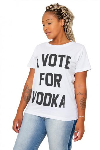Camiseta Korova I Vote for Vodka Branca
