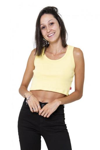Top Cropped Canelado Korova Amarelo Canário