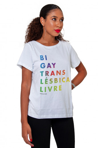 Camiseta Korova  Pride: Livre Branca