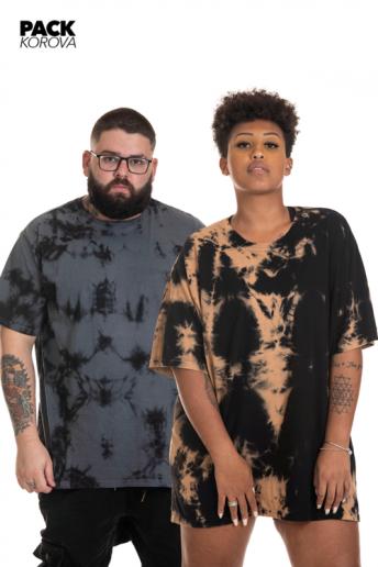 Pack de 2 Camisetas Korova Regulares Tie Dye Cinza/Cobre