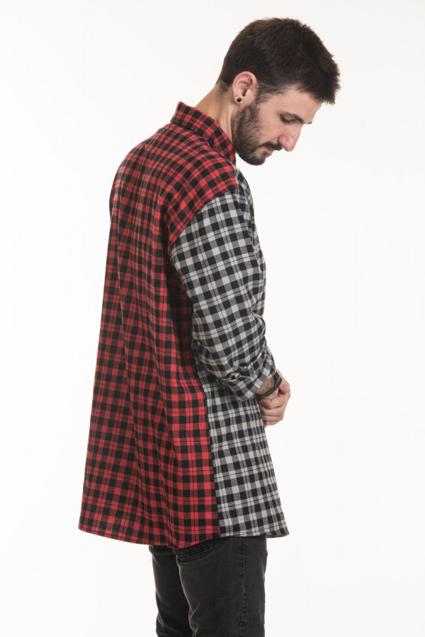 Pré Venda Camisa Flanela Korova Xadrez Half Cinza/Vermelho