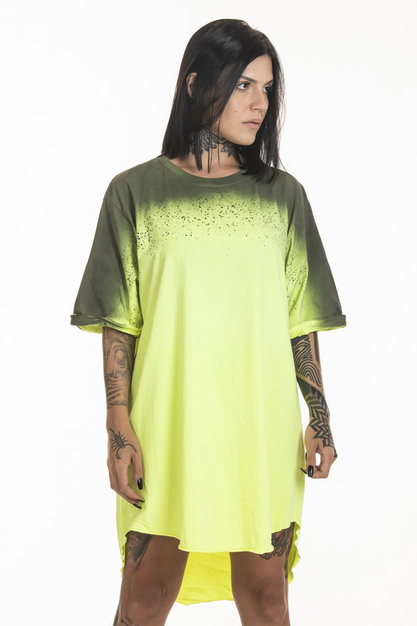 Camiseta Korova Tall Tee Spray Amarelo Neon