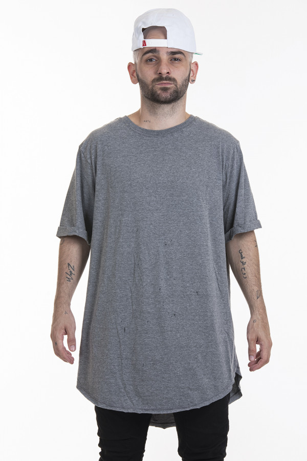 Camiseta Korova Tall Tee Cinza Mescla Chumbo